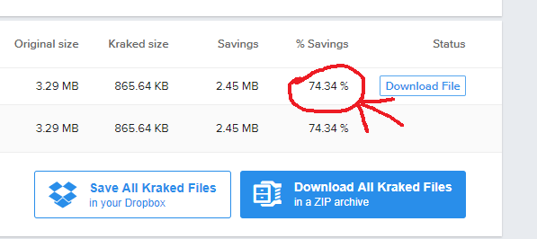 File size savings using Kraken.io